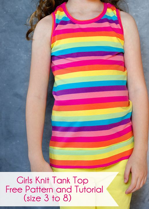 Girls Knit Tank Top, free pattern and tutorial. Size 3 to 8 ...
