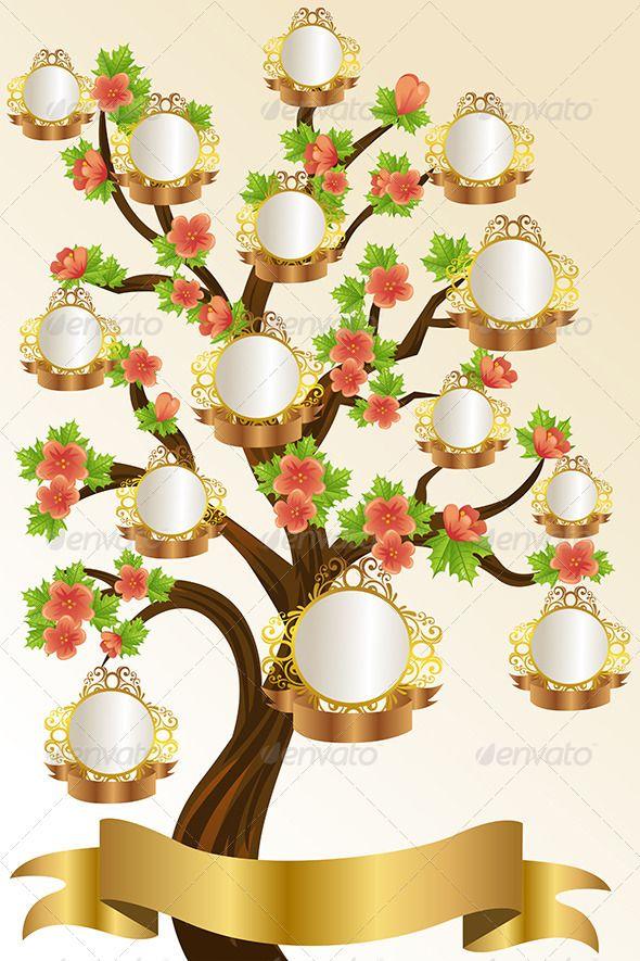 Family Tree Template - Decorative Vectors Family tree Pinterest