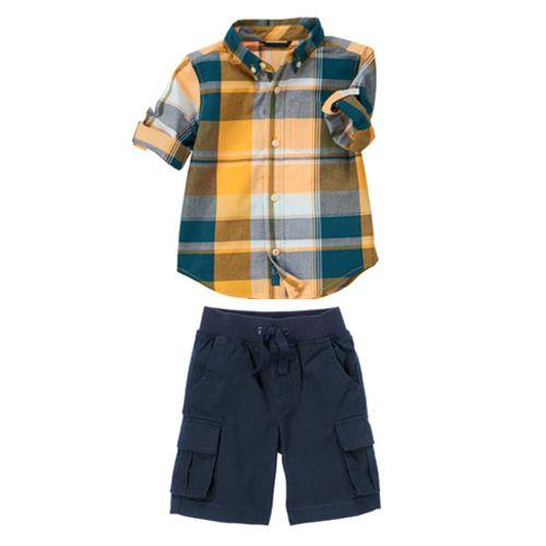 قميص كاروهات بلون برتقالي وازرق فاتح وكحلي وسماوي و بأكمام طويلة ويمكنك ثني الاكمام وشورت كحلي بمغاط من اعلى ال Cute Baby Clothes Baby Boy Outfits Boy Outfits