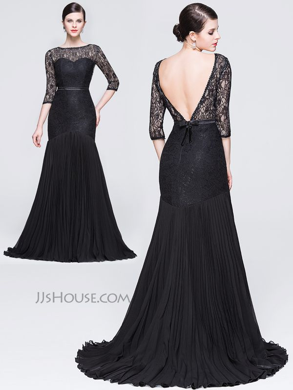 Sexy meets classic with this unforgettable chiffon lace evening dress! #JJsHouse #Eveningdresses