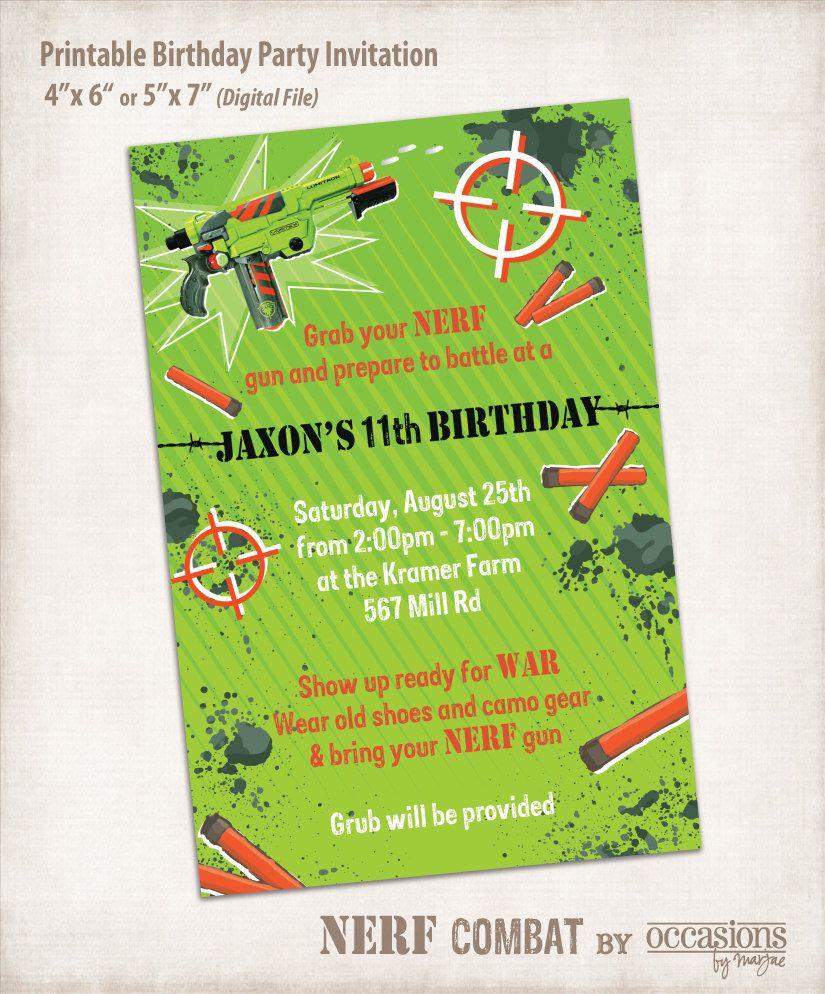 Printable NERF Birthday Invitation, Digital File, NERF