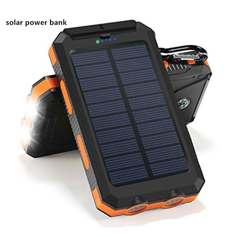 Waterproof Solar Power Bank Solar Charger Dual Usb Power Bank 20000mah With Led Light Powerbank For Iphone For Samsung Phone