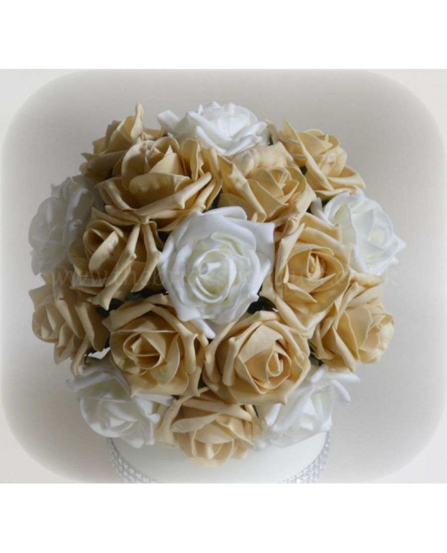 Gold bouquet opposites attract coloured rose bridesmaid bouquet gold bouquet opposites attract coloured rose bridesmaid bouquet of artificial roses with ivory or white dhlflorist Gallery