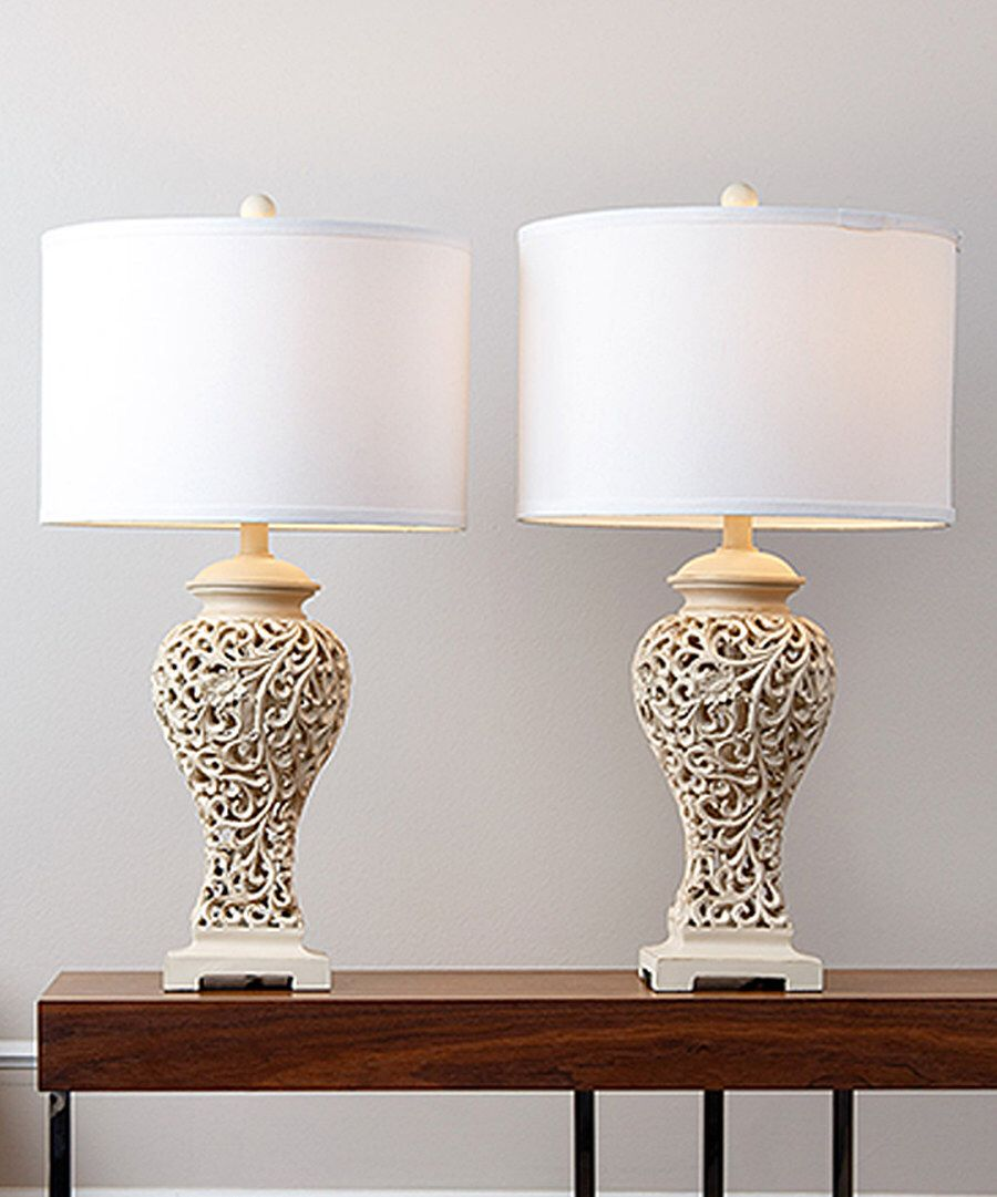 Look at this white fleurdelis white table lamp set of two on