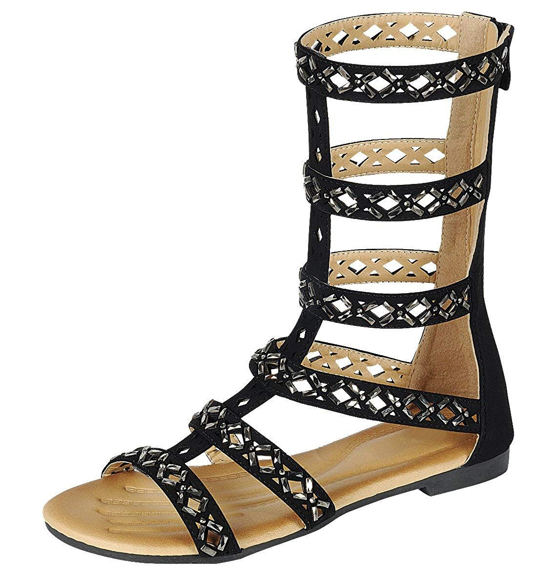 04dad650a2bb Anika 66 Womens Fringe Thong Flat Gladiator Sandals - Black - C811ZZXI1J1