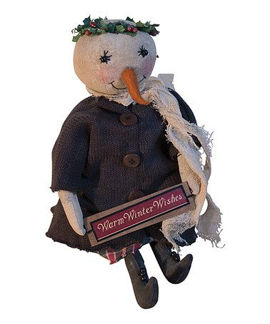 Take a look at this Warm Winter Wishes Snowgirl Plush Figurine by Pearson's Simply Primitives on #zulily today!