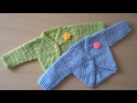 Como tejer en crochet o ganchillo una chaqueta bolero o rebeca para beb s de 6 meses de edad - Tejer chaqueta bebe 6 meses ...