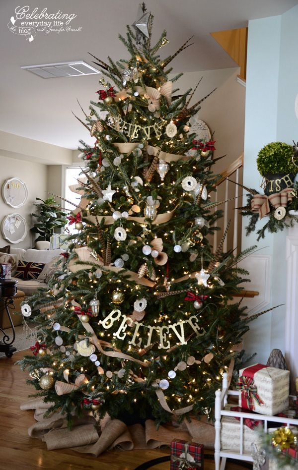 ralph lauren inspired christmas tree plaid christmas tree decorations burlap decorations believe pheasant feather christmas tree capiz shell garland - Feather Christmas Tree Decorations