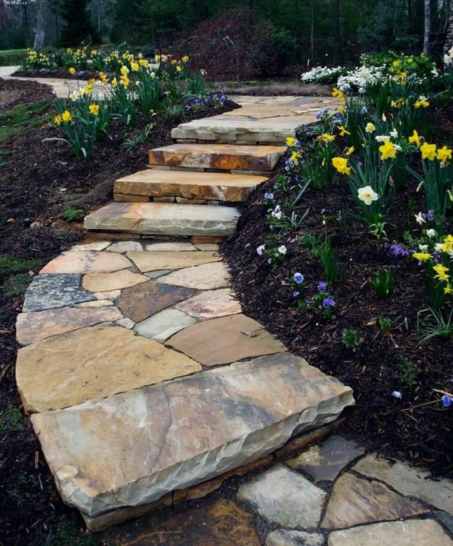 Flagstone paths and walkways in grass slate patio for Stone path in grass