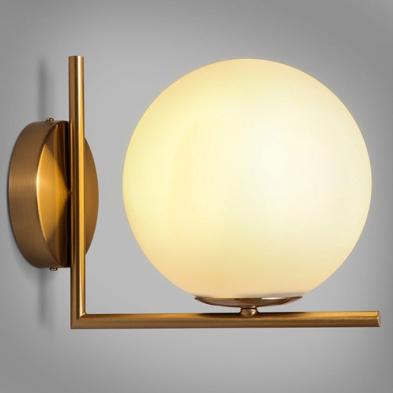 Cattel Simple White Globe Glass Shade SingleLight Indoor Wall - Single light bathroom wall sconce