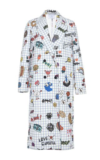 This **Mira Mikati** coat features a notched lapel with in-seam pockets and a notepad inspired print with cartoon icons.