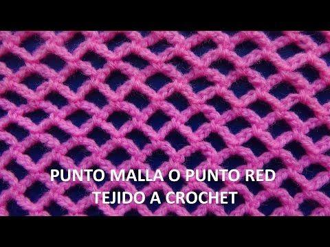 Punto malla o punto red tejido a crochet # 6 - YouTube | puntadas ...