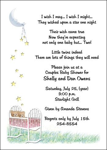 Sayings To Put On Twin Baby Invitations Pink Baby Twins Shower