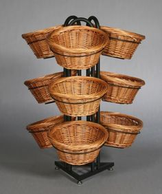 Floor Standing Wicker Basket Display Stand Like A Vegetable Stand