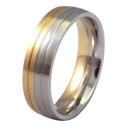 Half Gold Silver Tone Ring Stainless Steel Wedding Band A Stylish Men S And Women S Half G Stainless Steel Wedding Bands Mens Wedding Rings Mens Rings Fashion
