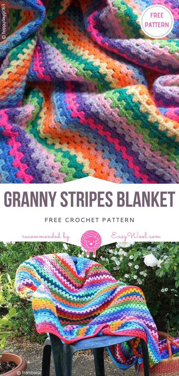 Granny Stripes Blanket Free Crochet Pattern On Easywool