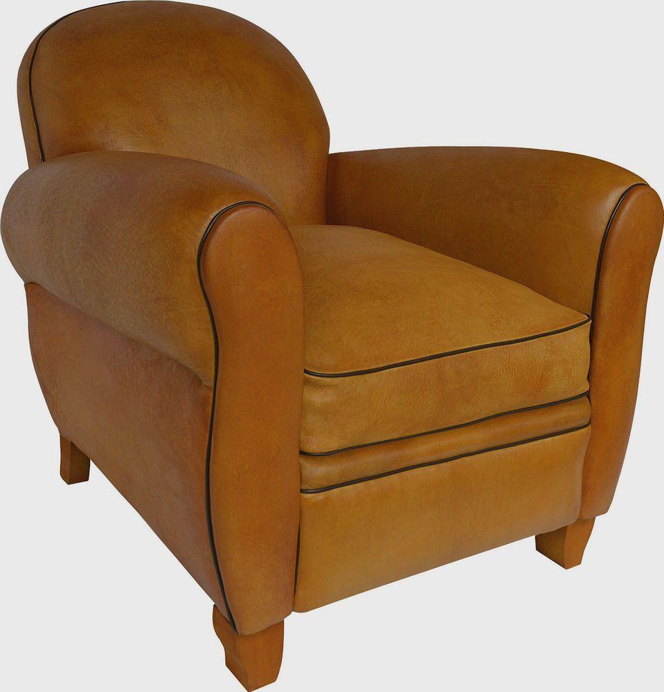 Art Deco 1935 Leamington Genuine Leather Club Chair   Dark Honey   W80 D80  H76