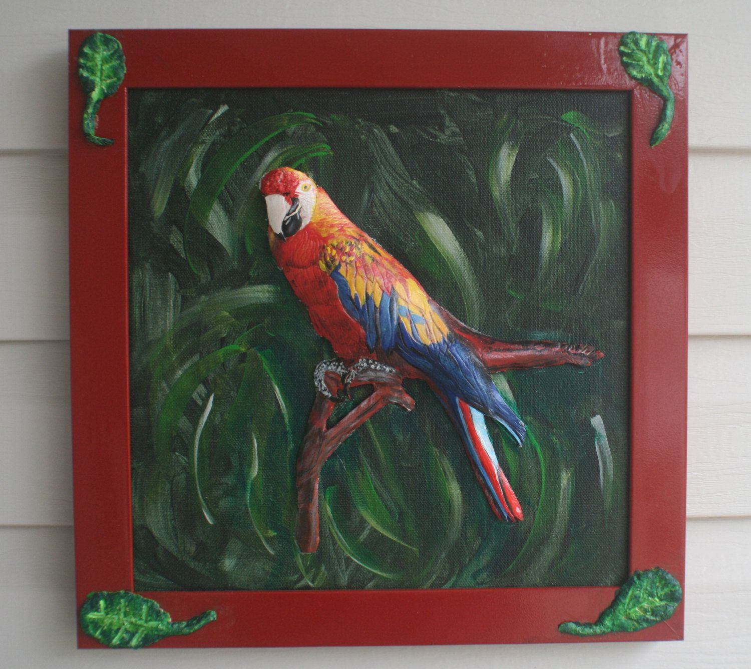 MACAW LEATHER SCULPTURE on Framed Stretched Canvas 3D Art, Wall Art ...