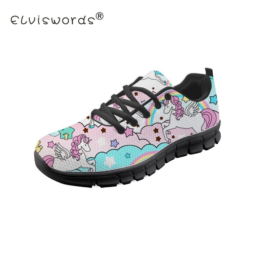 Cute Unicorn Printed Women Flats Sneaker Black Soles Ladies Leisure Walking Shoes Nurse Work Loafers Footwear Za Nursing Shoes Leather Flats Women Womens Flats