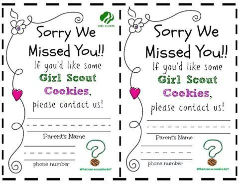 Sorry We Missed You Girl Scout Cookie Notes Girl Scout Cookies Girl Scout Troop Leader Girl Scouts