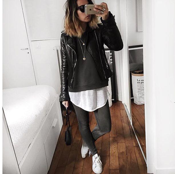 longbluse sweatshirt und lederjacke style pinterest. Black Bedroom Furniture Sets. Home Design Ideas