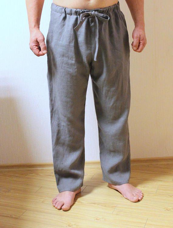 64e1574f66ca MENS LINEN pAJAMAS.PJ bottoms.mens lounge pants.in-side seam pockets. Mens  pyjamas.Men