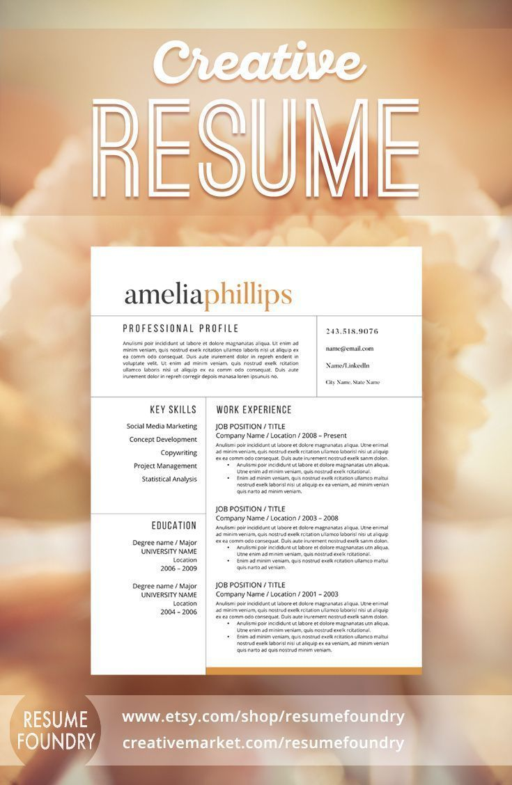 Elegant Resume Design that organizes your information so that it is ...