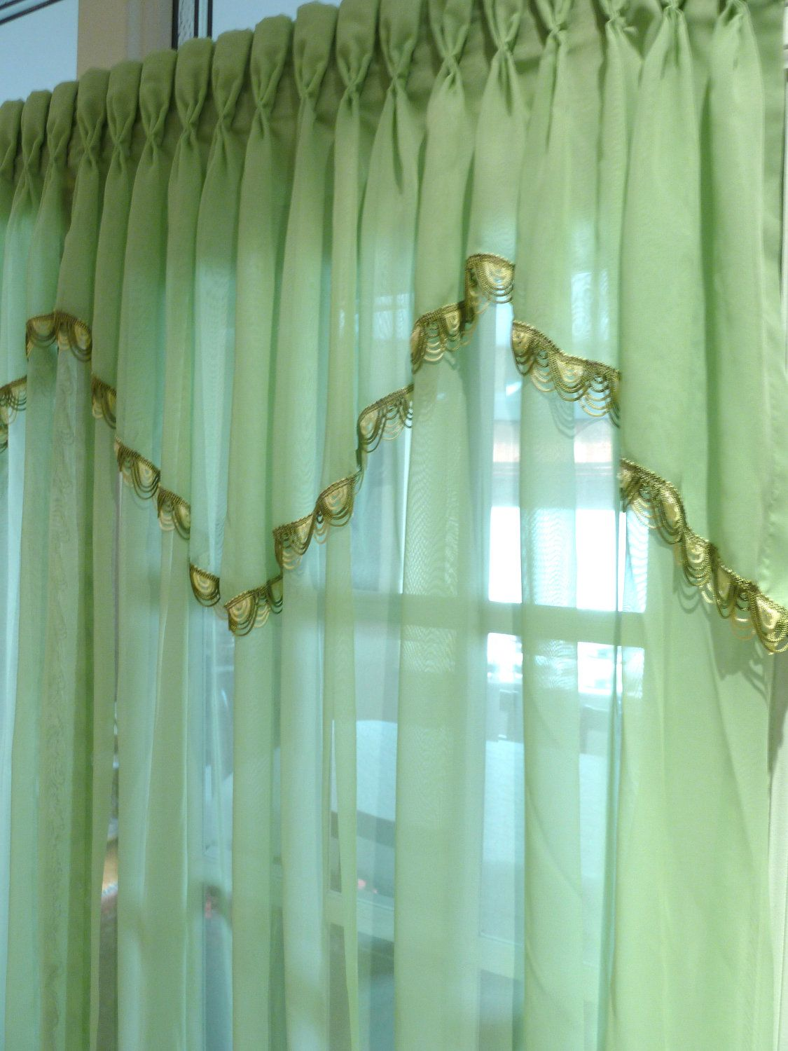 Green bedroom curtains - Mint Green Drape Pinch Pleated Sheer Bedroom Drapes Boudoir Curtain 98 00