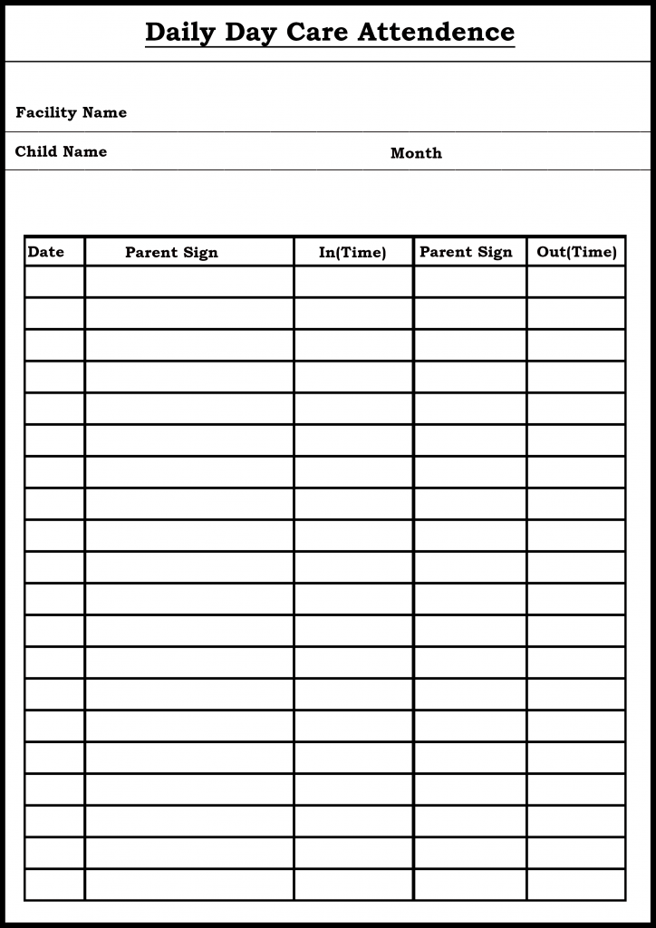Printable Attendance Sheet/ Tracker Template in PDF, Word ...