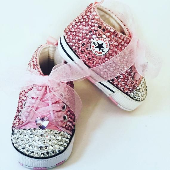 93088e6b8b7a Baby Converse Chucks -Bedazzled Bling Baby Shoes - Pink
