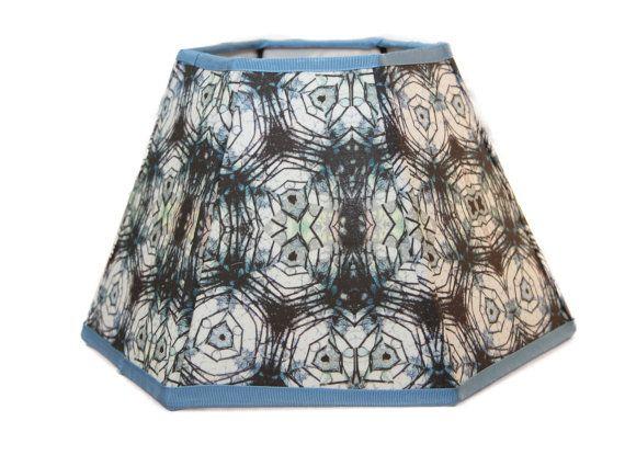 Hexagonal fabric lampshade handmade 5x10x7 H. by Gingerartlamps