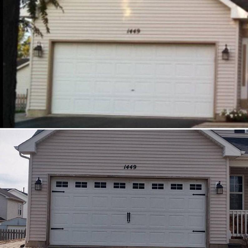 Craftsman Style Faux Garage Door Windows Vinyl Decals No Etsy In 2020 Garage Door Windows Garage Door Trim Vinyl Garage Doors