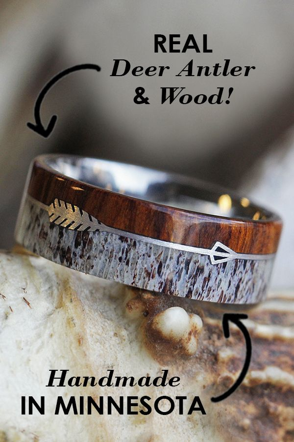 Silver Arrow Ring With Antler And Ironwood Burl In Titanium In 2018