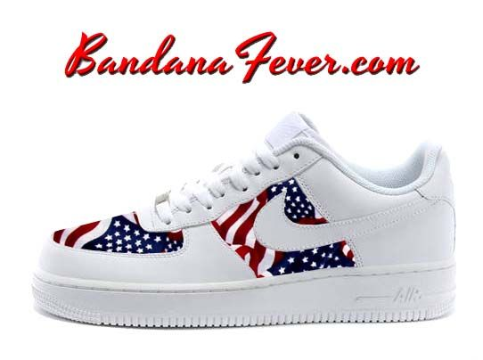Custom Tossed American Flag Nike Air Force 1 Shoes White Low