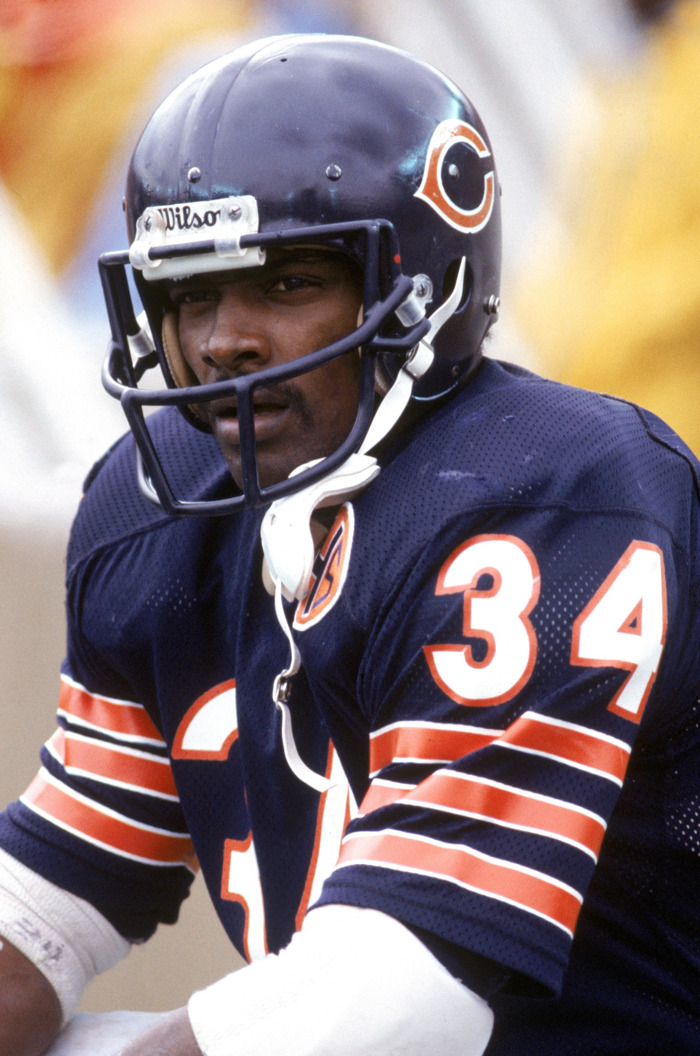 63143f31ddb 1983: Running back Walter Payton #34 of the Chicago Bears looks on during a  game in 1983.