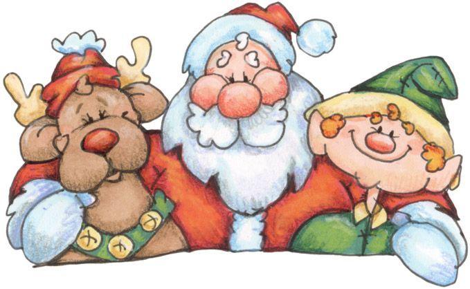 christmas santa elf and reindeer clip art laurie