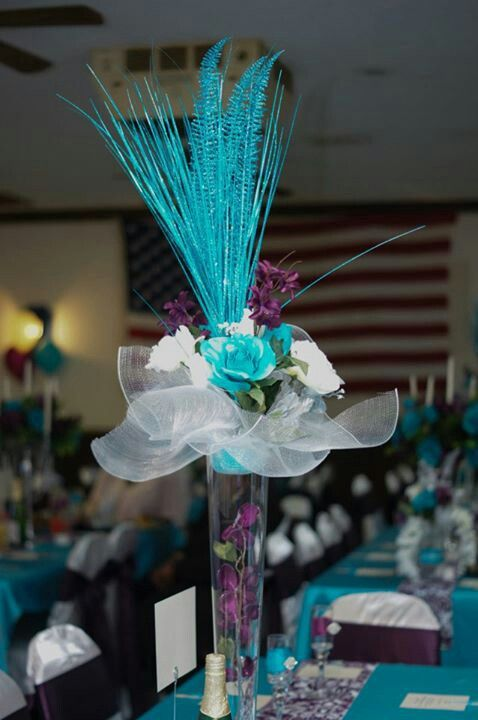 Purple and turquoise wedding ... like the teal table cover ...