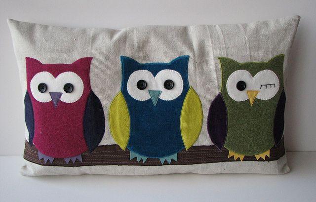 Owl pillows uil kussen vilt en kussens