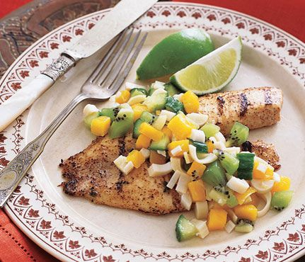 Tandoori Tilapia With Hearts of Palm Salad    Maneet Chauhan, chef at Vermilion in Chicago, uses nonfat yogurt to reduce calories but not taste.