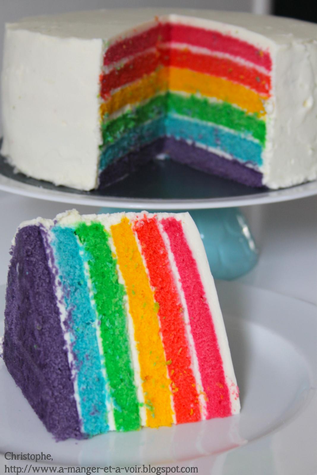 A manger et à voir Rainbow cake recette en photos et