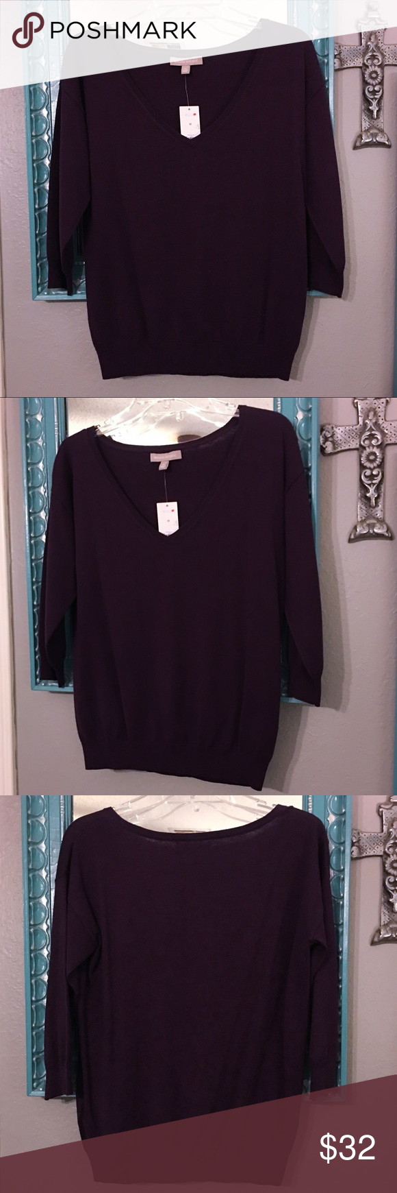 NWT Banana Republic Silk Cotton 3/4 Sleeve Sweater NWT Banana Republic Silk Cotton 3/4 Sleeve Sweater. Size M. Brand new with tag! Deep plum color. Gorgeous! Silk/cotton/poly blend material. Super soft! Smoke free home. Banana Republic Sweaters V-Necks