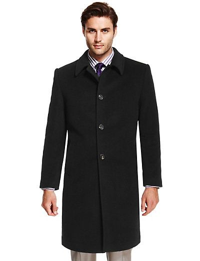 Italian Fabric Thermal Wool Rich Coat with Cashmere | M&S | men's ...
