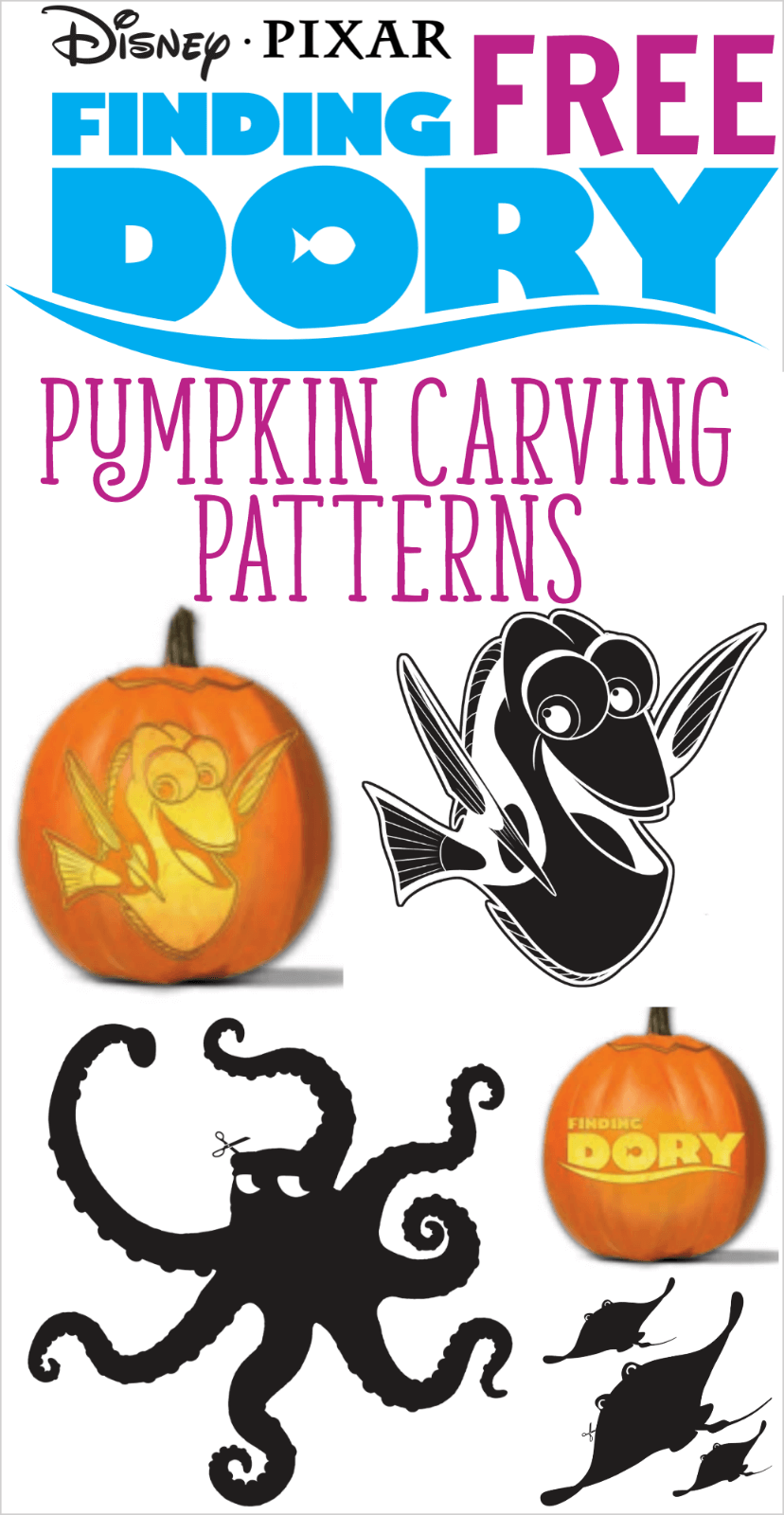 Free FINDING DORY Pumpkin Carving Patterns to Print! | All Things ...