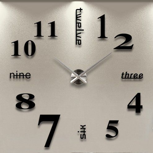 icasso luxury large size mirror surface creative modern home decoration art clock diy wall clock watches hours wall sticker black trust me