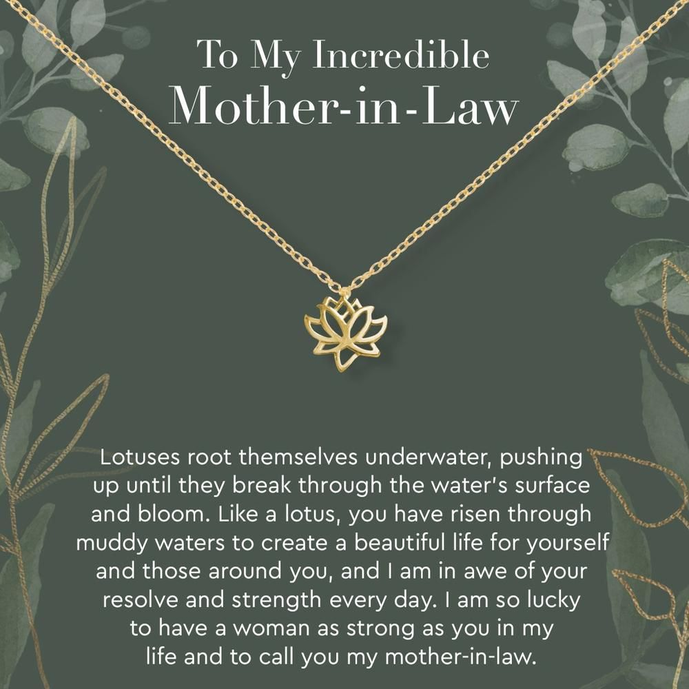 Mother In Law Lotus Necklace Mother Gifts Daughter Necklace Gift Necklace