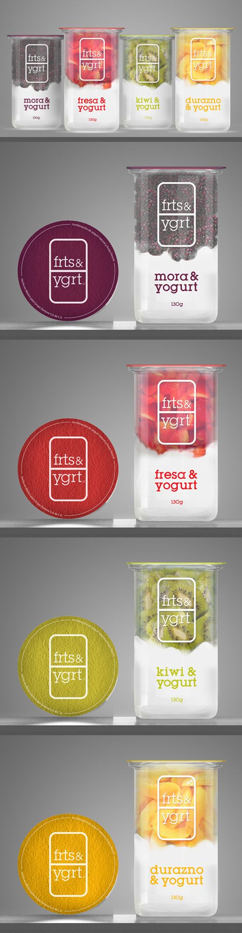 Fruit Yogurt Designed by Mika Kañive. I like the clear #packaging to show off the fruit and yogurt inside.