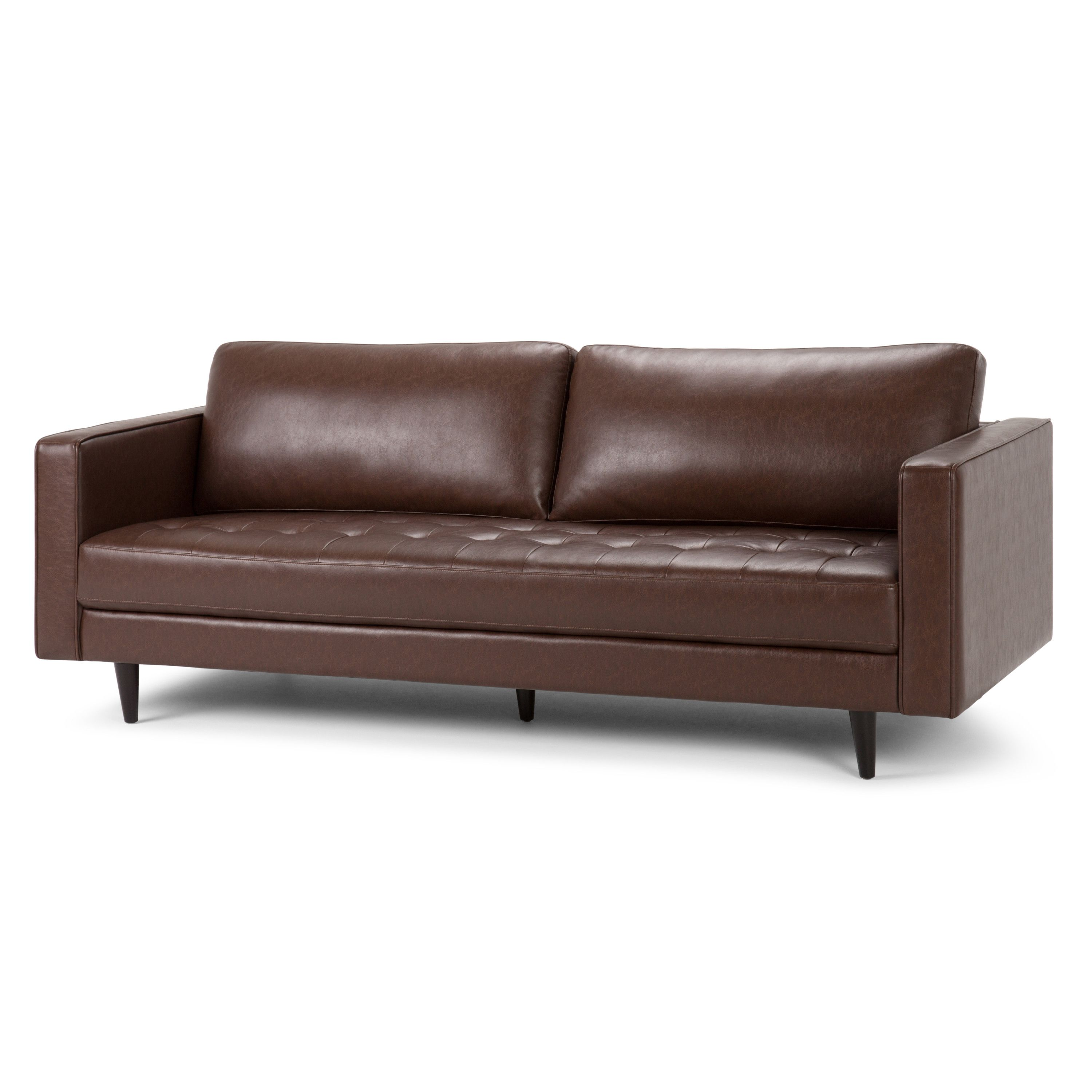 Brooklyn Max Thomas Sofa Bed In Faux Leather Brown Walmart Com In 2020 Faux Leather Sofa Leather Sofa Sofa