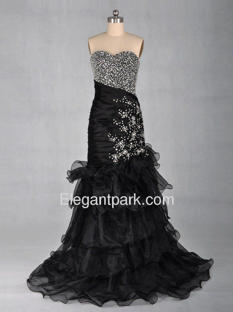 Black fit and flare sweetheart tiered beading floorlength thick