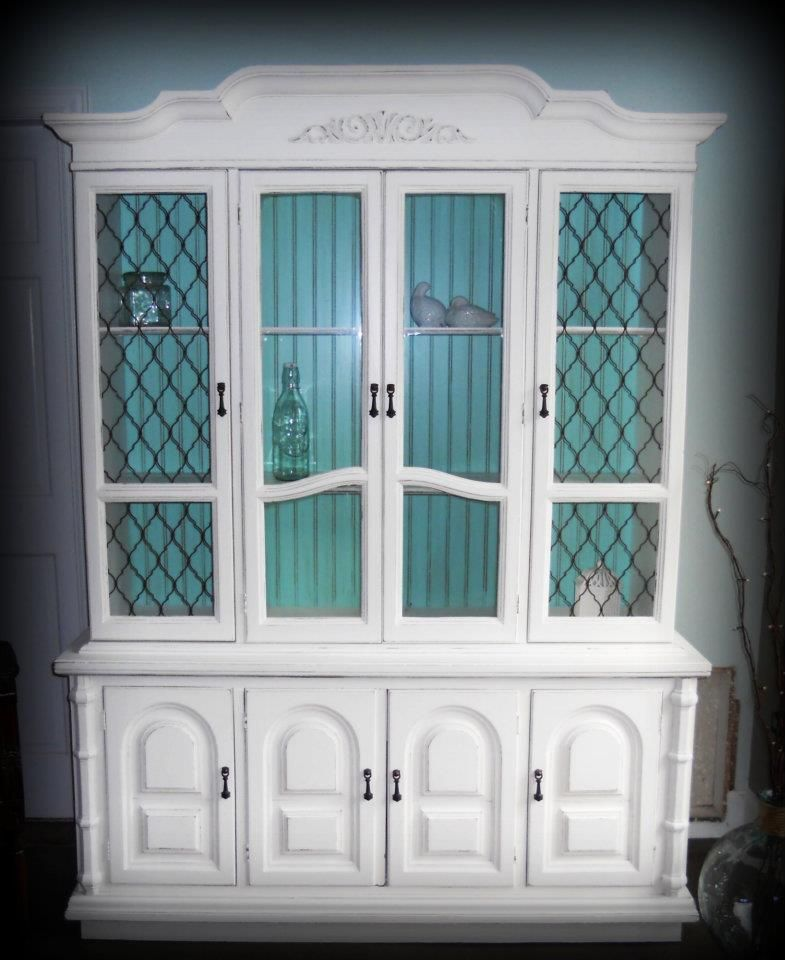 White China Hutch Makeover Refinished And Painted White With