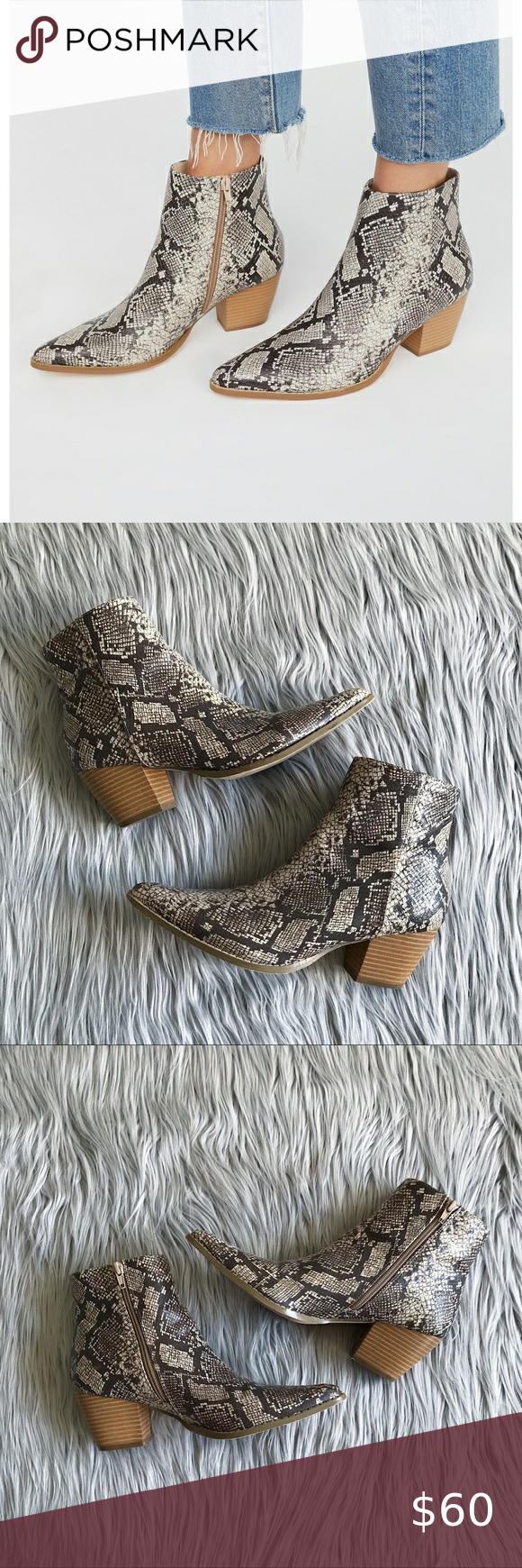 FREE PEOPLE Going West Snake Print Booties – Sz 9 Textured vegan leather ankle b…
